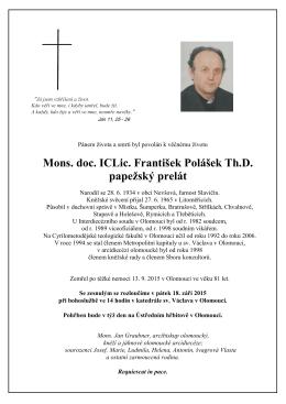 Mons. doc. ICLic. František Polášek Th.D. papežský prelát