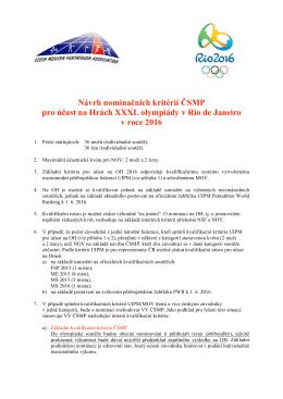Nominacni kriteria pro ucast na OH 2016
