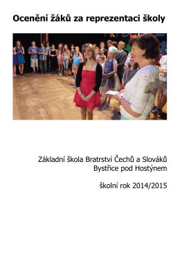 Ocenění žáků za reprezentaci školy - Základní škola Bratrství Čechů