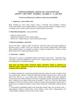 Všeobecné podmínky a pokyny pro vystavovatele koní