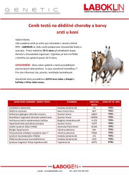 Ceník testů na dědičné choroby a barvy srsti u koní