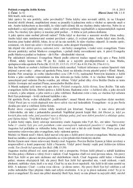 19.4.2015_Počátek evangelia Ježíše Krista (Mk 1,1