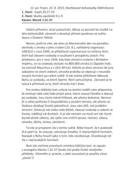 12. po Trojici, 23. 8. 2015, Rozhlasové bohoslužby Oldřichovice 1