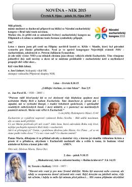 Text novény ZDE - Národní eucharistický kongres 2015