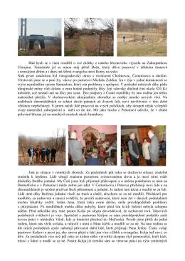 Zpráva z výjezdu na Ukrajinu - březen 2015
