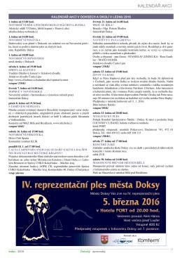 Kalendář akcí leden 2016