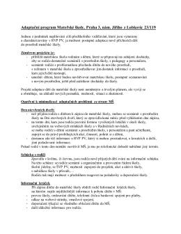 Adaptační program Mateřské školy, Praha 3, nám. Jiřího z Lobkovic