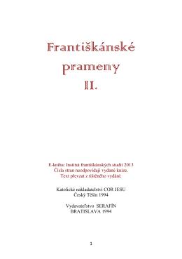 Františkánské prameny II. - Institut františkánských studií