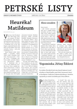 Heuréka! Matildeum - Spolek přátel Petrské čtvrti