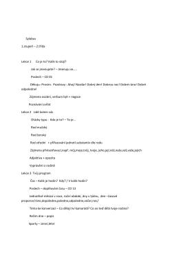 Sylabus 1.stupeň – 2.třída Lekce 1 Co je to? Kolik to stojí? Jak se