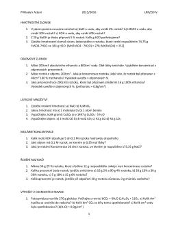 Příklady k řešení 2015/2016 LRR/ZCHV 1 HMOTNOSTNÍ ZLOMEK 1