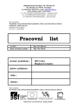 Pracovní list - Škola Dr. Horáka, Prostějov