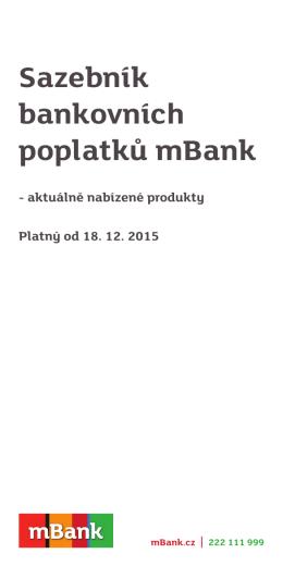 Sazebník bankovních poplatků mBank