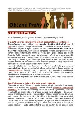 Na Praze 10 budou zveřejňovány podklady k jednání zastupitelstva