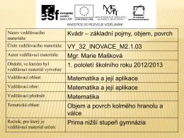 Kvádr a krychle - Sportovní gymnázium Plzeň
