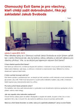 Olomoucký Exit Game je pro všechny, kteří chtějí zažít dobrodružství