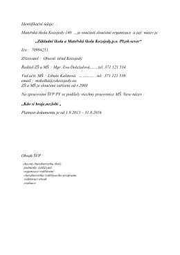 Školní program - ZŠ a MŠ Kozojedy