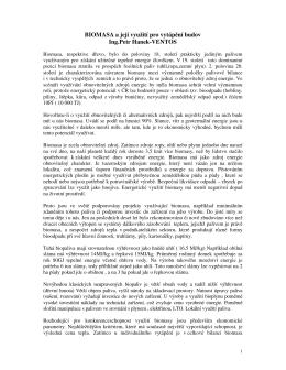 BIOMASA a její využití pro vytápění budov Ing.Petr Hanek