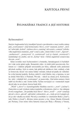 KAPITOLA PRVNÍ Bylinkářská tradice a její historie