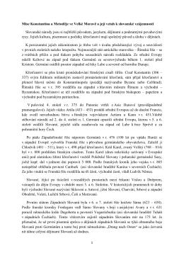 Mise Konstantina a Metoděje ve Velké Moravě a její vztah k