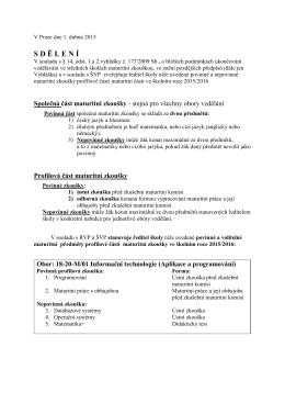 Sdělení Ředitele školy k MZ 2015/2016
