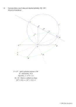4) Sestrojte elipsu, jsou-li dány její sdružené průměry PQ, MN