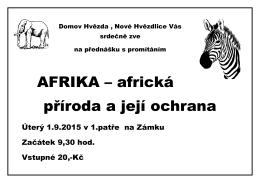 AFRIKA – africká příroda a její ochrana