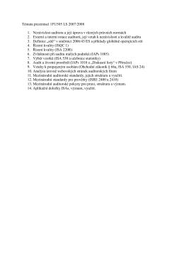 Témata prezentací 1FU505 LS 2007/2008 1. Nezávislost auditora a