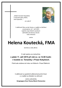 Helena Koutecká, FMA - FMA - Dcery Panny Marie pomocnice