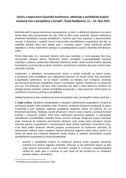 """Závěry a doporučení účastníků konference """"Mokřady v zemědělské"""