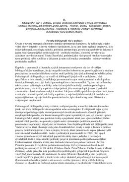 11. Bibliografie věd o politice, povaha pramenů a literatury a jejich