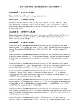 Usnesení Rady obce Rudoltice č. RO/2015/5/25