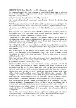 VZKŘÍŠENÍ LAZARA, Bible (Jan 11,1-45) – ekumenický překlad Byl