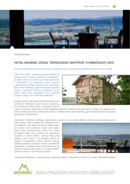 hotel monínec získal tripadvisor certifikát výjimečnosti 2015