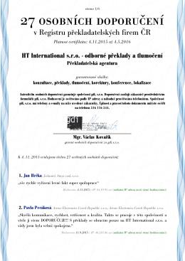 27 osobních doporučení - Hero Translating, v.o.s.
