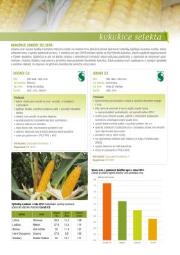 Nabídka kukuřic Selekta jaro 2016