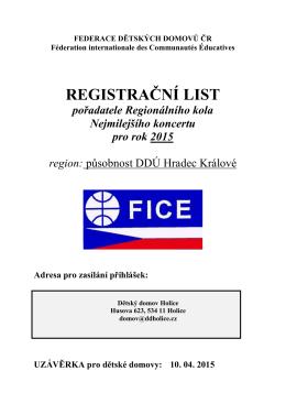 REGISTRAČNÍ LIST - federace dětských domovů čr