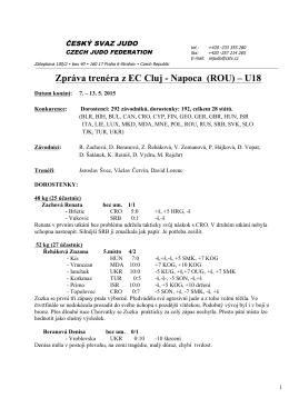 Zpráva trenéra z EC Cluj - Napoca (ROU)