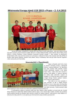 Mistrovství Evropy týmů U19 2015 v Praze – 2.