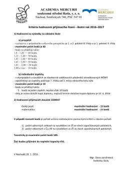 Kritéria hodnocení 2016-2017