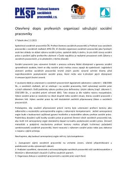 Otevřený dopis profesních organizací sdružující sociální pracovníky