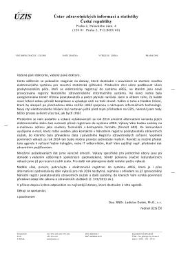 Dopis ÚZIS ke sběrům dat