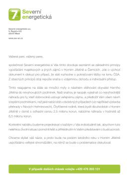 Dopis Severní energetické obyvatelům obcí