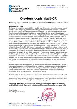 Otevřený dopis vládě ČR: nesouhlas se zavedením elektronické