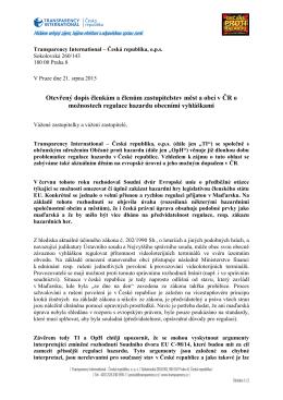 Otevřený dopis - Regulace hazardu
