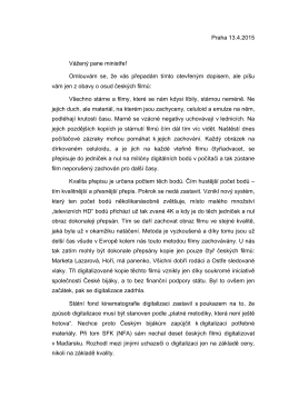 dopis Jiřího Menzela ministru kultury Hermanovi