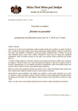 Váš dopis značky / ze dne naše značka vyřizuje / linka Nové Město