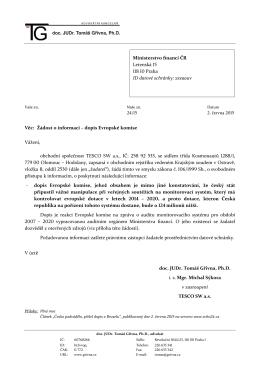 Věc: Žádost o informaci – dopis Evropské komise Vážení