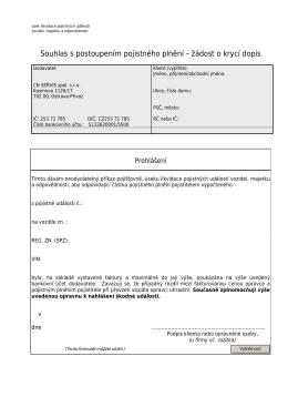 KRYCÍ DOPIS (doklad o bezhotovostní platbě)