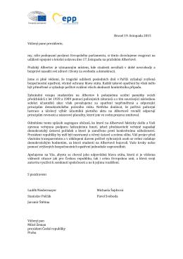 Dopis poslanců Evropského parlamentu prezidentu republiky